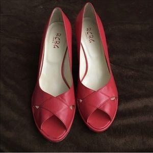 Bcbg red leather heels